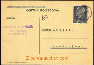 35587 - 1939 polská dopisnice 15gr zaslaná do Jablunkova, DR Karwi