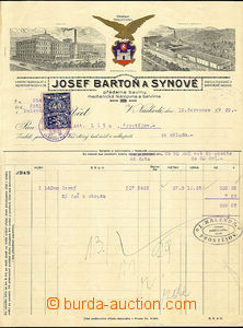 35615 - 1929 decorated invoice firm J.Bartoň and sons with mounted
