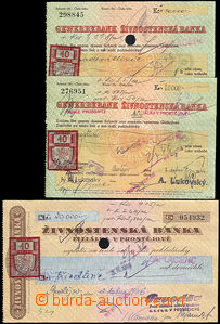 35627 - 1946 3 pcs of used checks of Trade Bank branch office Prost�