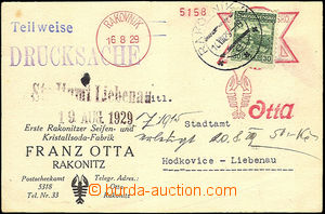 35633 - 1929 commercial PC with print meter stmp Otta and CDS Rakovn