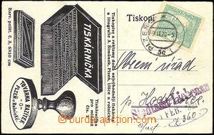 35635 - 1920 firemní lístek s přítiskem Továrny razítek J.Děd