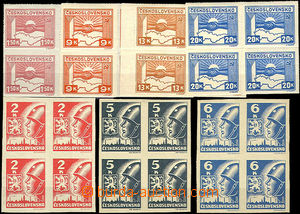 35680 - 1945 Pof.353-9 Košice-issue, blocks of four, good quality,