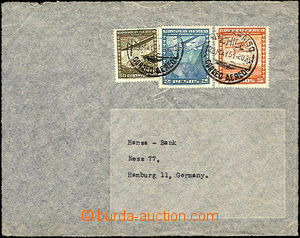 35708 - 1951 CHILE  air-mail letter to Germany, franked with. 3 pcs