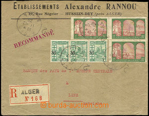35791 - 1929 Reg letter to Austria, with Mi.3x 52, 3x 73, CDS Algier