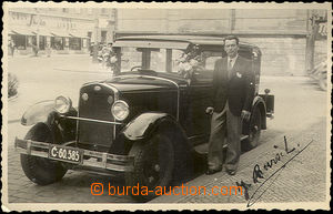 35796 - 1937 photo as postcard personal car Škoda with driver, atel