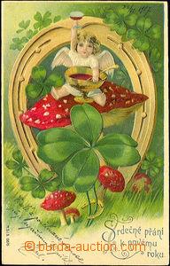 35797 - 1907 New Year's wish, color, embossed, cherub, horseshoe, fo