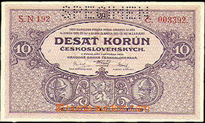 35815 - 1927 Czechoslovakia  bank-note 10CZK, SPECIMEN, quality 0