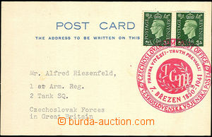 35883 - 1941 franked card with special postmark Czechosl. military p