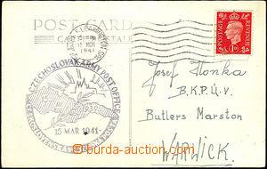 35884 - 1941 photo postcard Hradčany issued in England, franked wit