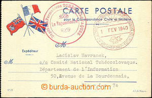 35886 - 1940 card with additional-printing flags and red cancel. Dep