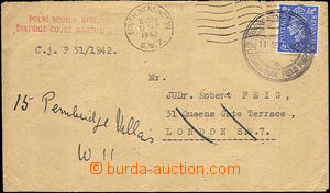 35897 - 1942 franked letter with straight line postmark Field court