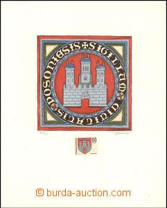 35915 - 1968 vícebarevný grafický list znak města Bratislavy od