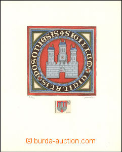 35915 - 1968 multicolor graphic sheet city coat of arms Bratislava f