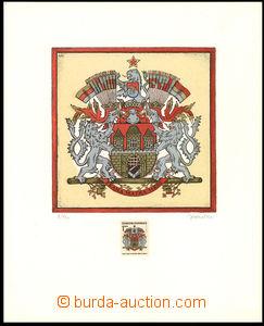 35919 - 1968 vícebarevný grafický list, velký znak města Prahy do J.