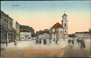 35935 - 1920 Břeclav -  square with church, colored, Un, slightly p