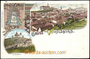 35936 - 1900 Mikulov - Nikolsburg, color lithography., general view