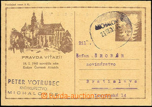 35989 - 1945 CDV73 Pa, Us with provisory oval cancel. Michalovce 23.