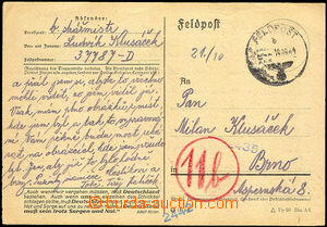 36005 - 1944 předtištěný lístek zaslaný do Protektorátu, odes