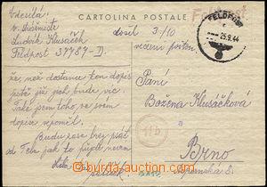 36006 - 1944 italský lístek Cartolina postale zaslaný do Protekto