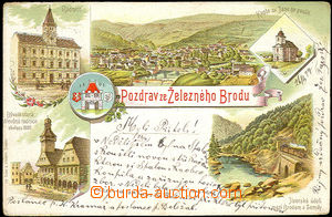 36080 - 1899 Železný Brod, barevná kolážová litho, DA, prošl�