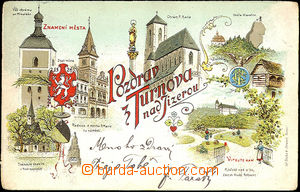 36081 - 1899 Turnov - color collage lithography, long address, Us, w