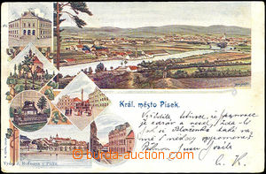 36087 - 1901 Písek -  color collage postcard, long address, Us, sli