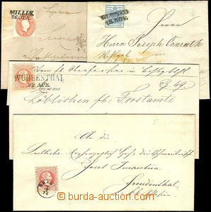 36180 - 1850-70 comp. 10 pcs of letters with interesting postmarks,