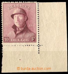 36223 - 1919 Mi.158 král Albert, koncová hodnota, rohový kus s ok