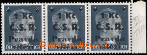 36255 - 1945 Cheb  str-of-3 German stamps 4Pf with chebským overprin