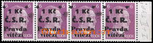 36257 - 1945 Cheb  str-of-4 German stamps 6Pf with chebským overprin