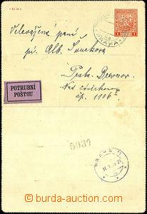 36261 - 1935 CZL2 bez okrajů zaslaná potrubní poštou, podací DR