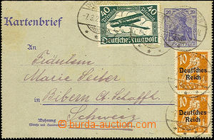 36272 - 1921 letter-card 20Pf, Mi.k18b without margins to Switzerlan