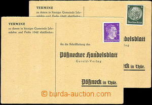 36278 - 1942-43 SUDETENLAND  2 pcs of Un response cards with 6Pf Hin