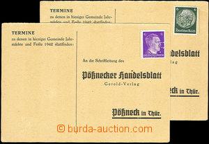 36278 - 1942-43 SUDETY  2ks neprošlých odpovědních lístků vyfr