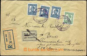 36295 - 1937 letecký R dopis zaslaný do ČSR, vyfr. výplatními zn. s