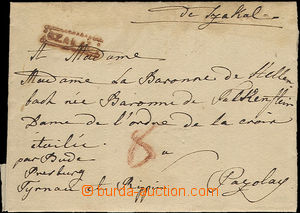 36318 - 1825 folded letter with frame red cancel. SZAKAL, addressed