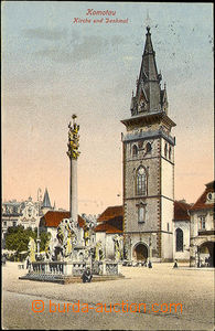 36330 - 1924 Chomutov - Komotau, church and plague pillar in the squ