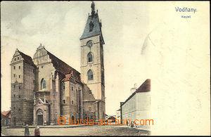 36337 - 1904 Vodňany - church, colored postcard, Us, light bumped c
