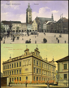 36339 - 1910 České Budějovice - 2 kusy, náměstí s tramvají  a