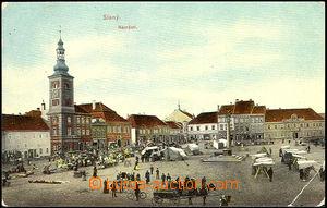 36340 - 1910 Slaný - trh na náměstí, prošlá, zlomený roh