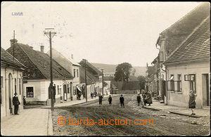 36343 - 1935 Libáň - foto, postavy na návsi, obchody, prošlá, o