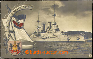 36344 - 1909 S.M.S. Schwaben, flag and coat of arms. Us to Bohemia L
