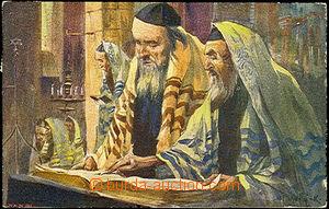 36351 - 1916 Židé v synagoze, malovaná pohlednice, sign. Nejedlý