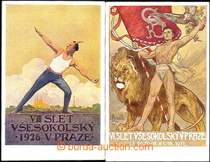 36357 - 1912, 1926 2 pieces promotional Ppc VI. and VIII. Sokol fest