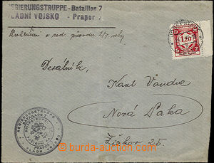 36360 - 1942 7. batt./guidon, straight line postmark on/for service