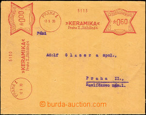 36393 - 1930 envelope paid 2 print meter stmp Ceramics Prague 1/ 13.