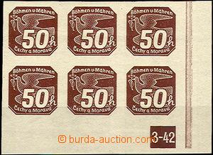 36410 - 1939 Pof.NV8 s DZ 3-42, pravý rohový 6-blok, kat. 900Kč