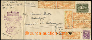 36412 - 1936 USA  oblong postal stationery cover 1c, uprated by. 6 p