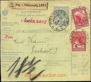 36430 - 1913 povozní pošta  Fahrpostaufg. Praha 1 - nálepka na balík