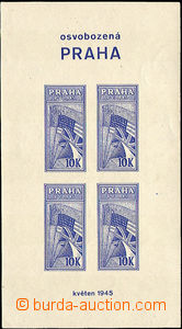 36432 - 1945 miniature sheet Liberated Prague with block of four lab